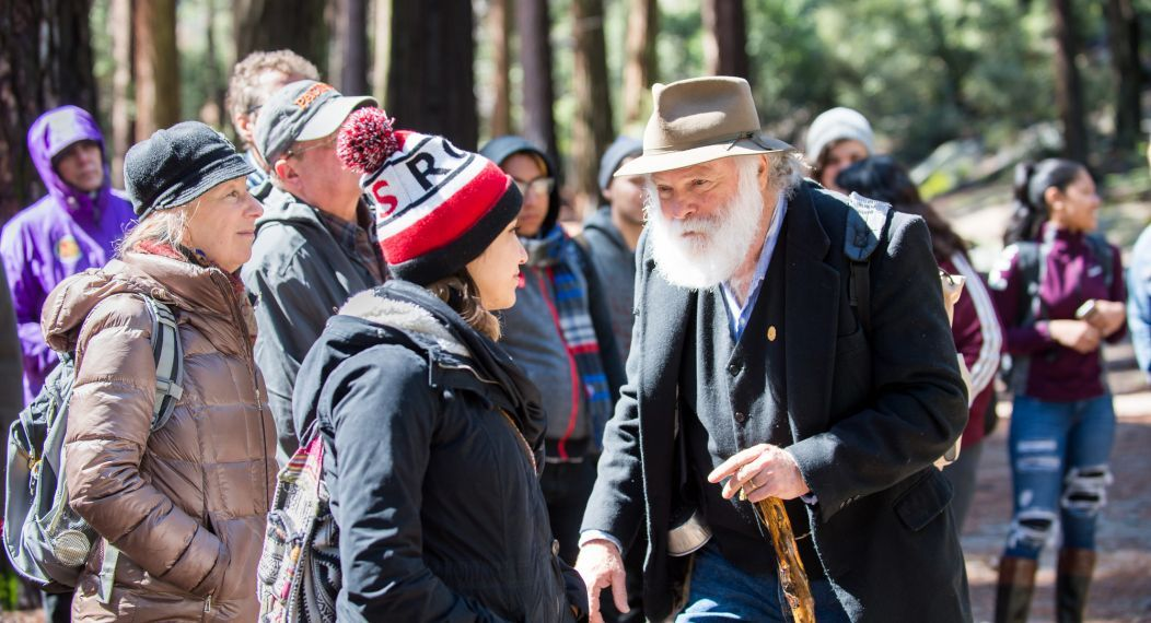John Muir reenactor Frank Helling provided stories of the history to students while visiting Yosemite National Park